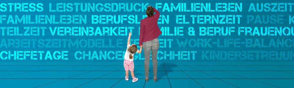 Mutter mit Kind vor einer Wörterwand
