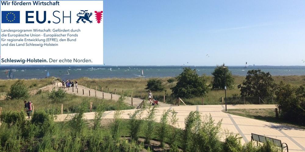 Die durch das Land Schleswig-Holstein und die EU geförderte Strandpromenade in Pelzerhaken.